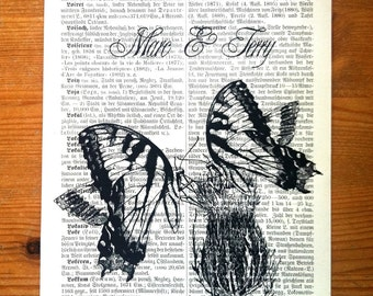 Two Butterflies Love Wedding Anniversary Engagement Valentine Gift Personalized Art Print on Antique 1896 Dictionary Book Page