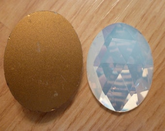 1 Vintage Faceted White Opal 40 x 30mm Glass Large Cab Cabochon C26