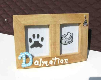 Final Markdown Sale...DALMATIAN Dog Breed Wood Desktop Double Photo Frame w/Pawprint Charm CHOOSE Red or Blue Letter