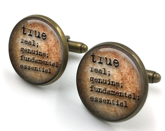True Dictionary Cuff Links, Dictionary Cufflinks, Dictionary Sayings Jewelry, Truth Meaning, Stamped Jewelry, gift for men, gift for him