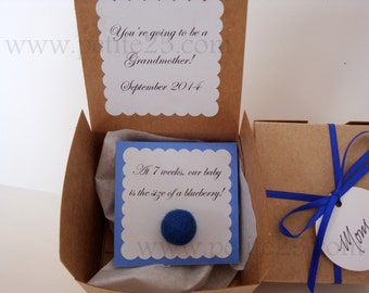 7 Week Blueberry Pregnancy announcement, baby announcement, new baby, new parents, gender reveal