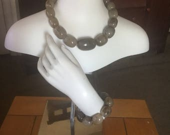 Greyish brown statement jewelry set