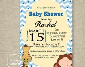 Monkey Baby Shower Invitation Baby Boy Invite Giraffe Invite Zoo Animals Invite Blue Chevron Polka dots Safari Animal Invite JPEG file (22b)