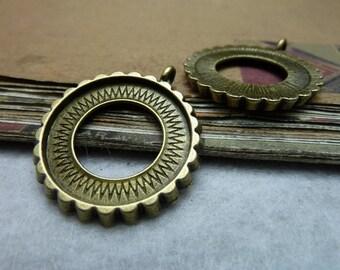 10 Antique Bronze Silver 25mm Bezel Cups Ac7920