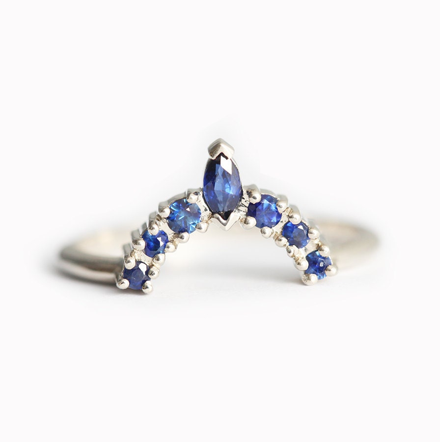 Sapphire Wedding Ring Sapphire Crown Ring Curved Sapphire