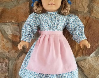 "Pioneer  doll dress and apron, American Girl Kirsten, Prairie dress, 18"" doll"