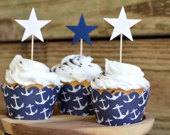 Navy Anchor Cupcake Wrappers - Sets of 12, 25, 30, 40, 50, 75, or 100. Perfect for nautical or travel themed birthday, wedding & more!