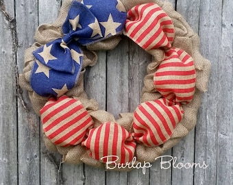Burlap 4th of July Wreath, Burlap Patriotic Wreath, Memorial Day Wreath, 4th of July Decor