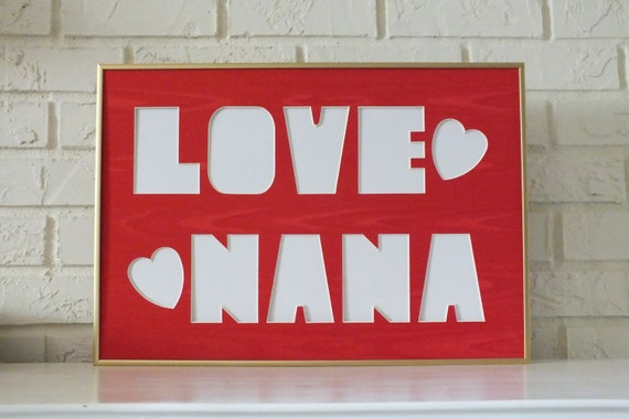 Love Nana Hearts Photo Collage Picture Frame Family Photographs ...
