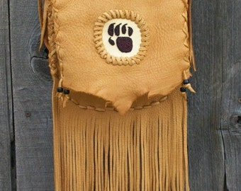 Fringed leather handbag ,  Fringed crossbody bag ,   Fringed handbag with bear totem