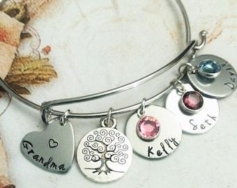Personalized Grandma Bracelet, Grandma Jewelry, Gift for Grandma, Gift For Grandma, Hand Stamped Gift, Hand Stamped Jewelry, Name Bracelet