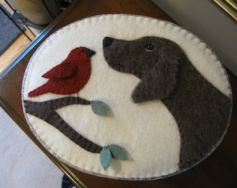 Box.... Wool Applique Fabric Covered Puppy Dog and Bird design for Gift / Treasures / Keepsakes / Storage