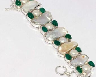 Biwa Pearl , Chalcedony Quartz , Pearl  Handmade  925 Silver plated Bracelet AA 1003
