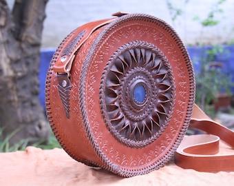 Handmade leather bag/Round bag/Round leather bag/Original bag/Ibiza style bag/Boho style bag/Handmade bag/Special bag/Leather bag/Brown bag