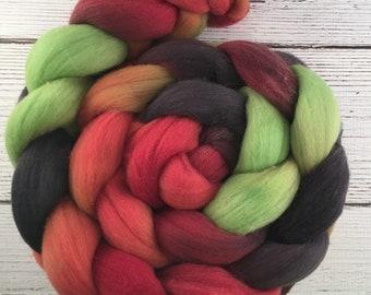 Handpainted Targhee Wool Roving - 4 oz. DRAGON SCALES - Spinning Fiber