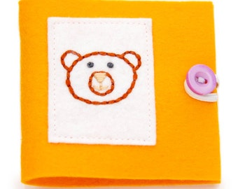 Small Felt Needle Case, Orange and Purple Felt Book, Pin and Needle Storage, Bear Embroidery, Kids Sewing Book, Childs Needle Case