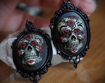 Pair Black and Red Black Setting Sugar Skull Day of the Dead Dia De Los Muertos Hand Made Earrings