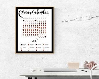 Digital Print- INSTANT DOWNLOAD, Lunar Calendar for 2019, Moon Phase Calendar Digital Download