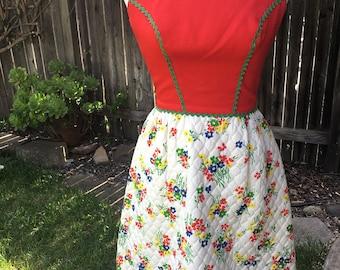 Red floral 1970s Lanz minidress size xs