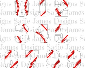 Baseball laces numbers SVG and Silhouette Studio cutting file, Instant Download