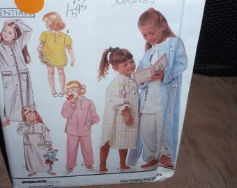 Simplicity 7032 Child's Nightgown, Pajamas, Robe Size Small 3 to Large 6X  New Uncut