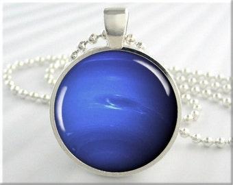 Neptune Planet Pendant, Resin Charm, Blue Accessory, Space Jewelry, Resin Pendant, Round Silver, Space Geek Gift 503RS