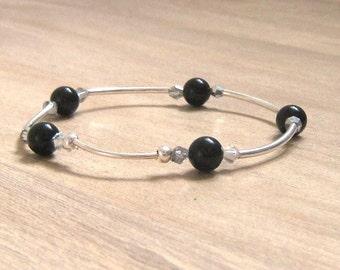 Swarovski® crystal bangle,Real silver bangle,Onyx bracelet,Elasticated bracelet,Black bangle,Handmade jewellery, Gift for her, Birthday gift