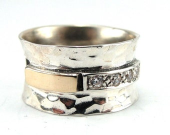 ISRAEL Women 925 Classic Sterling Silver 9k Gold White CZ ring size 7.5 (s r2465
