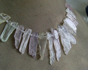 1 Strand Kunzite Natural rough layout  beads 42, grams,  10X18, 8X45, MM