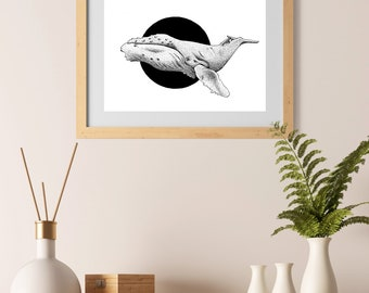 Whale - Illustration Wall Art Print, A4, animal poster, cute, pen & ink, black and white, decoration, living room, home decor, modern
