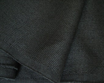 4 Yds black woven twill polyester suiting