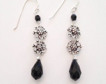 Sterling Silver Earrings with Black Crystal Drops