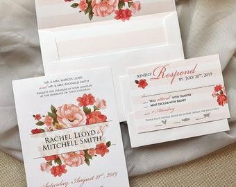 Pink Wedding Invitation, Floral Wedding Invitation, Summer Wedding Invitation, Striped Wedding Invitation Set, Envelope Liner Wedding