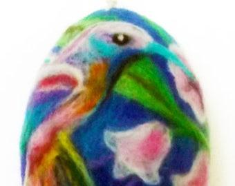 Easter egg,humming bird,Easter flowers,miniature art,Easter gift,bright festive colors,needle felt gift,hummingbird,cute Easter gift for you