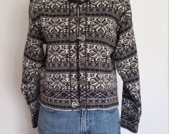 Woolrich sweater, S, M, vintage 70s, 70's sweater, grey sweater, gray sweater, cardigan sweater, wool sweater, wool cardigan, nordic sweater