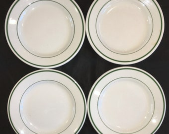 "Buffalo Restaurant Diner China Green-Banded ""Niagara"" 6-3/8"" Bread and Butter Plates (Set of Four) Excellent Condition"