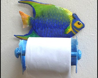 Tropical Fish Toilet Paper Holder, Hand Painted Metal Art, Bathroom Decor, Toilet Tissue Holder, Tropical Metal Art, Beach Decor, 7231-TP
