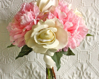 Pink Peony Bouquet with Ivory Roses (Bridesmaid Bouquet, Summer Wedding, Spring Wedding, Light Pink Bouquet, Peonies and Roses)