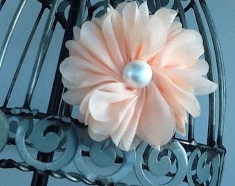 Peach flower hair clip, girls flower hair clip hair accessory, peach hair flower, girls hair clip hair accessory.