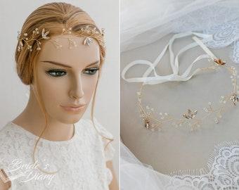 Rhinestones Bridal hair vine, wedding hairpiece, wedding halo