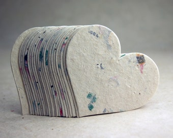 """Large Seed Paper Hearts 2.85""""w x 2.5""""h Wildflower Natural Lotka Recycled Fibers #47s for Weddings or Events"""