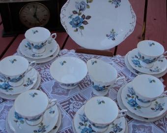 "Vintage English Fine Bone China Tea Set Paragon ""Blue Mist"""
