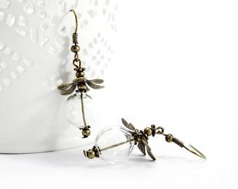 DIY - Kit pour la création d'une paire de Boucles d'oreilles Globe Couleur Bronze - Perle bulle en verre soufflé