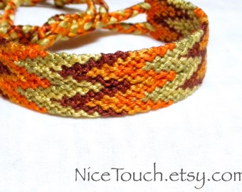SUMMER SALE!!! Free Shipping or Save 20% ~ Autumn Leaves knotted friendship bracelet ~ Ready to Ship