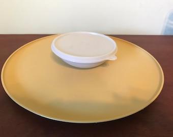 Vintage Tupperware Gold and Almond Chip and Dip Server