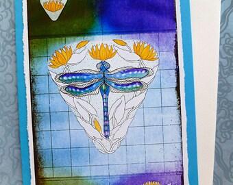 "Fine Art Greeting Card, La Libellule Bleue ""Blue Dragonfly"" Hand Made, Archival Reproduction of an original aquatint."