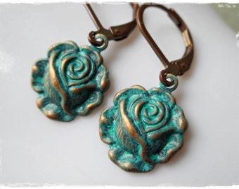 Turquoise rose earrings flower earrings romantic renaissance vintage style jewelry leverback dangle earrings verdigris patina blue green