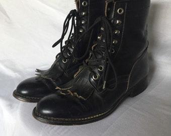 Vintage Justin Riding/Paddock Kiltie Lace Up Boots ~ black leather size 2.5 D
