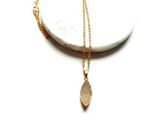 Gold dipped druzy necklace-crystal bar necklace-connector pendant necklace -24k gold dipped druzy-Valentine's Day Gift