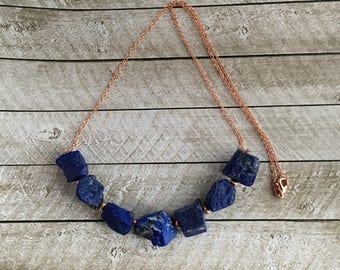 Lapis and Copper Necklace - Free U.S. Shipping